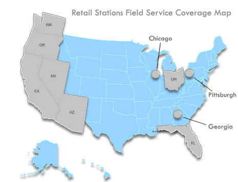 Retail Stations Field Service Coverage Map